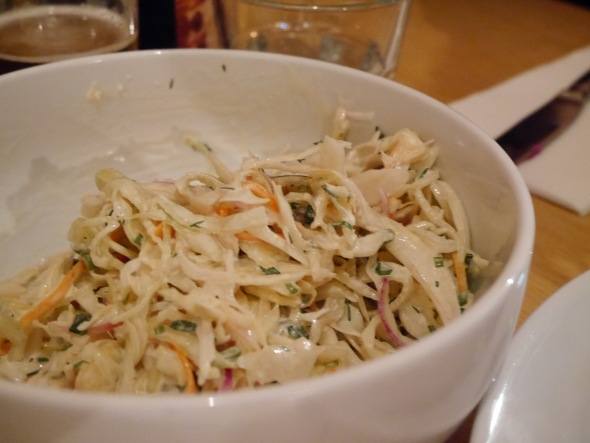 Crunchy slaw, not too much dressing