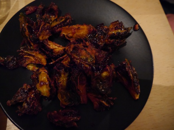 Brussel sprouts fried to within an inch of their lives