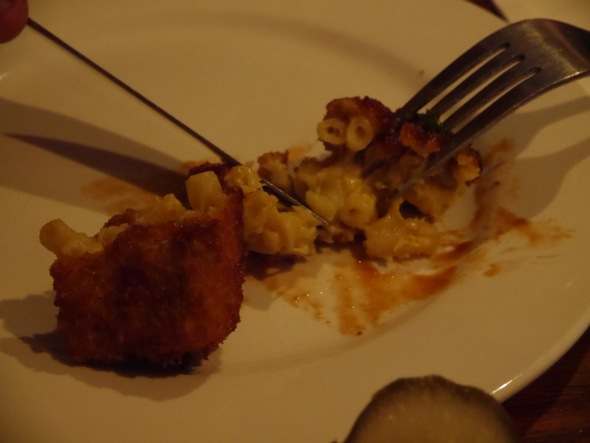 Macaroni inside the fried croquettes.