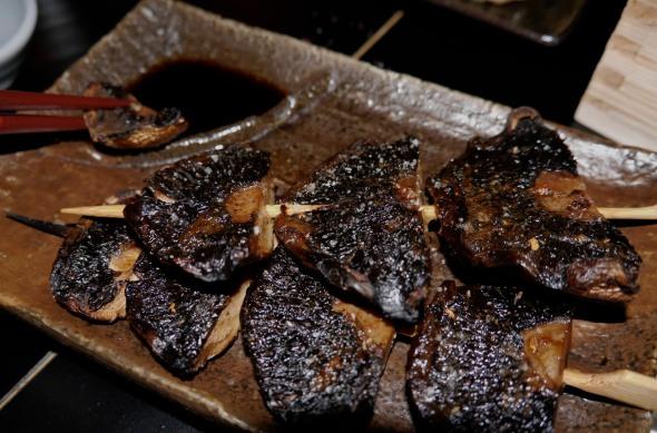 Mushroom skewers were nicely done