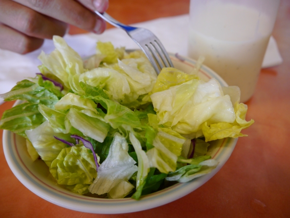 American version of a salad - we skipped the bottle of ranch dressing, and found the lettuce was crisp and refreshing.