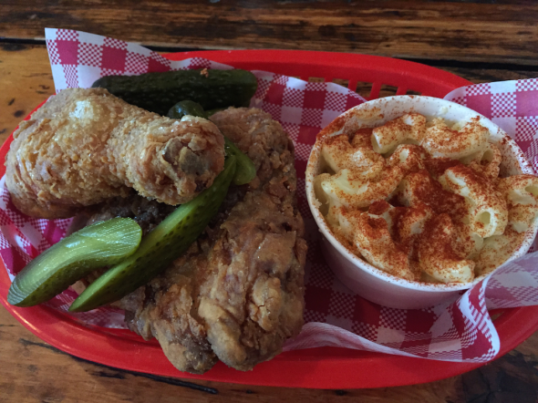 Southern Style Dark Meat with Mac n Cheese and extra pickles